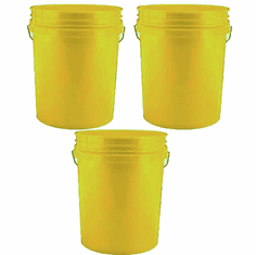 5 Gallon (20L) Yellow Plastic Bucket, 3-pack   - Non-UN