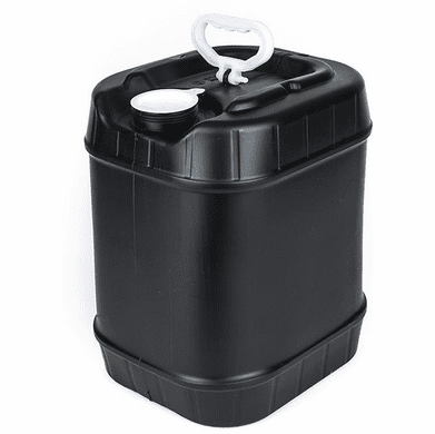 Black 5 Gallon Rectangular Plastic Pail, Closed Head, 70 mm Cap Included