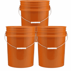 5 Gallon Bucket Plastic,Orange 3 Pack