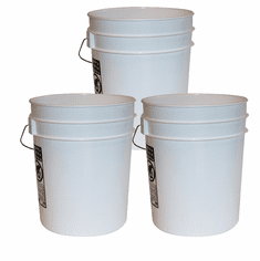 5 Gallon Bucket - White 3 Pack