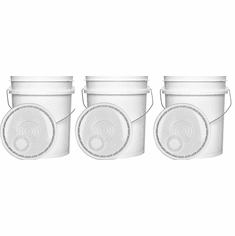 """5.3  Gallon (20L) Buckets and Easy Pour Spout Lids White Food Grade Combo 3 Pack <Font color=""""red""""> Special Combo Free Shipping</font>"""