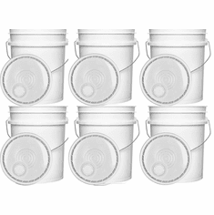 "5 Gallon Plastic & Easy Pour-Spout Lids White Combo 6 Pack <Font color=""red"">Free Shipping</font>"
