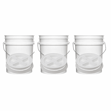"""5 Gal Gallon Plastic Buckets & Easy-Off Gamma Seal Lids White Combo 3 Pack<br /><Font color=""""red"""">Special Combo Free Shipping</font>"""