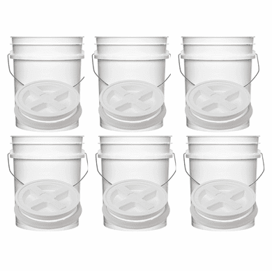 "5  Gallon Gallon Buckets & Easy-Off Gamma Seal Lids 6 Pack Combo <Font color=""red"">Free Shipping</font>"