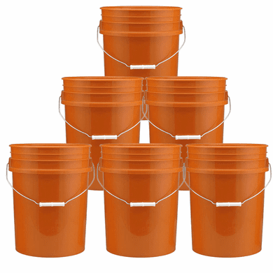 5 Gallon  Buckets  Orange - Six Pack