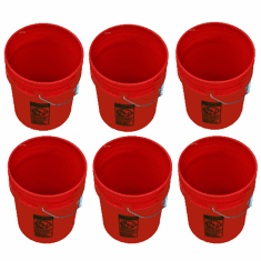 5 Gallon Buckets Red - Six Pack