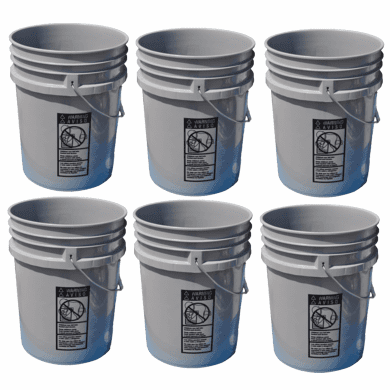 5 Gallon Buckets, Six (6) Pack Plastic Gray ~SOLD OUT~