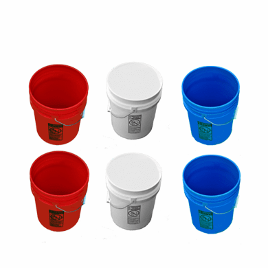 5 Gallon Buckets, Six (6) Pack | Plastic | Red, White & Blue