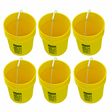 5 Gallon Buckets Yellow - 6 Pack