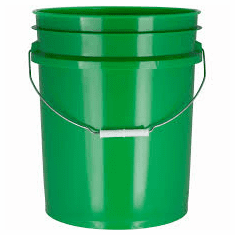 5 Gallon Green Plastic Bucket, 3-pack