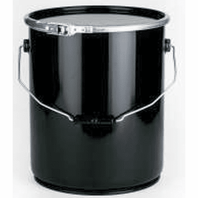 5 Gallon Open Head Steel Pails, with Lever Lock Ring - Black