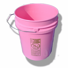 5 Gallon Pink Plastic Bucket, 3-pack