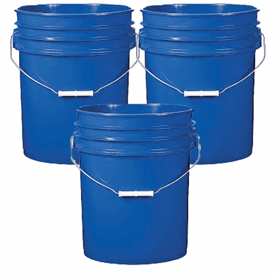5 Gallon Plastic Bucket Blue 3 Pack