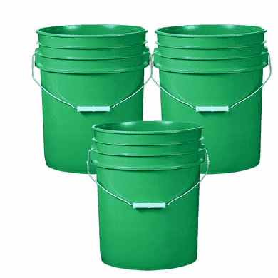 5 Gallon Plastic Bucket Green 3 Pack