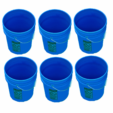 5 Gallon Plastic Buckets Blue | Six Pack