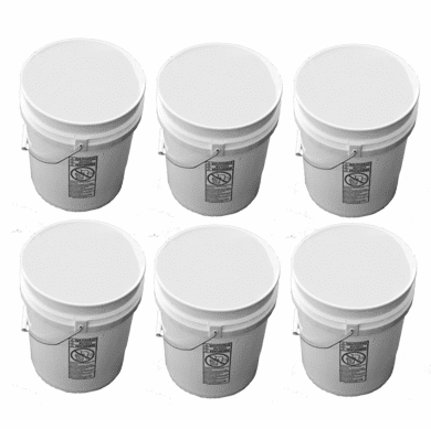 5 Gallon Plastic Buckets White | Six Pack