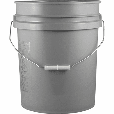 5 Gallon Gray Plastic Pail -Pallet of 120 each (90 mil), Metal Handle