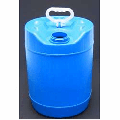 5 Gallon Round Closed-Head Plastic Jugs,Screw Cap, Blue