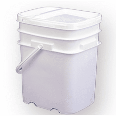 5 Gallon Square Ez Stor® Bucket Pail and lid,  w/handle, 6 Pack
