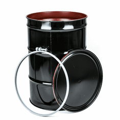 55 Gal Steel Drum Open-Head-Black EPOXY-PHENOLIC LINING | Plain Top