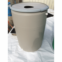 "55 Gal Tan Rain Barrel <br><strong><font color=""#008000"" face=""Times Roman"" size=""3"">Free Shipping</font></strong>"