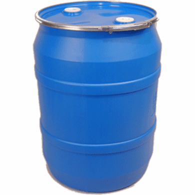55 Gallon Blue Plastic Open Head Drum, Lid w/Fittings, Lever Lock