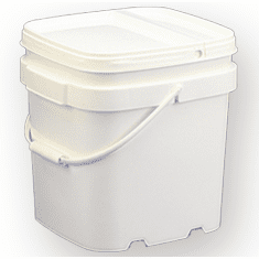 6.5 gal.Square Ez Stor® Bucket Pail and Lid w/handle, 6 Pack | Included Reclosable Lids