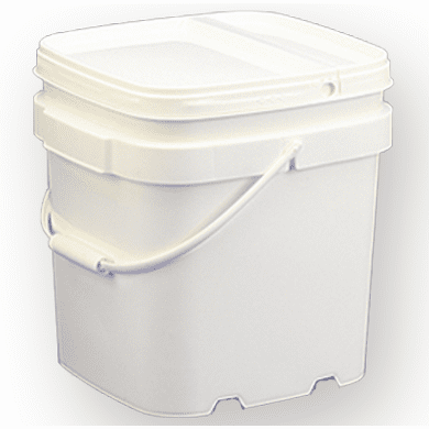 6.5 gal.Square Ez Stor® Bucket Pail and Lid w/handle, 6 Pack