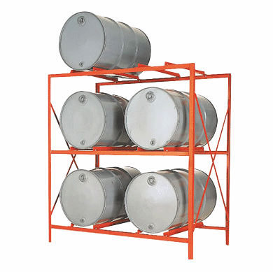 6-Drum, 2 Shelves - Economical Drum Storage Racks