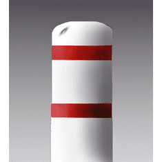 7inch I.D.x 60 inch H Post Bollard White sleeve w/red tape