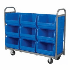 "9 Bin Cart, 28"" Deep, Super-Size AkroBin®, Holds 9 Bins 830290, 1350 lb Capacity"