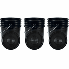 """Black 5 Gallon Buckets and Flat Lids  Food Grade Combo 3 Pack <Font color=""""red""""> Special Combo Free Shipping</font>"""