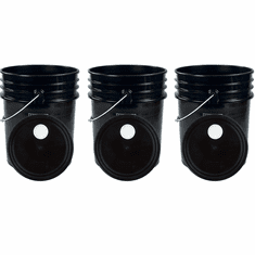 """Black 5 Gallon Buckets and Spout Lids  Food Grade Combo 3 Pack <Font color=""""red""""> Special Combo Free Shipping</font>"""