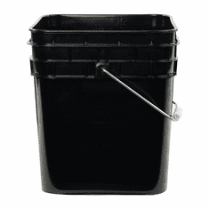 Black Plastic Square Bucket With Flat Lid - 3.3 Gallon - Food Grade - 70 Mil