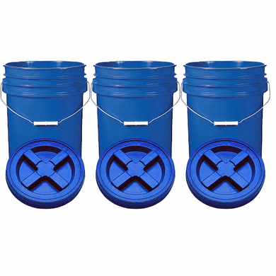 "Blue 5 Gal Gallon  Plastic Buckets and Gamma Seal Lids  Food Grade Combo 3 Pack <Font color=""red""> Special Combo Free Shipping</font>"