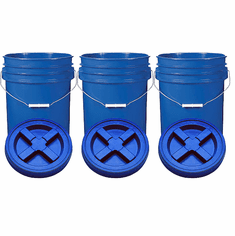 """Blue 5 Gal Gallon  Plastic Buckets and Gamma Seal Lids  Food Grade Combo 3 Pack <Font color=""""red""""> Special Combo Free Shipping</font>"""