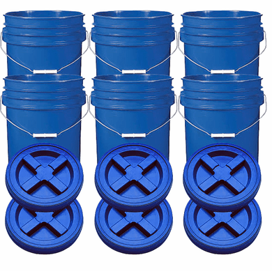 "Blue 5 Gal Gallon Plastic  Buckets and Gamma Seal Lids  Food Grade Combo 6 Pack <Font color=""red""> Special Combo Free Shipping</font>"