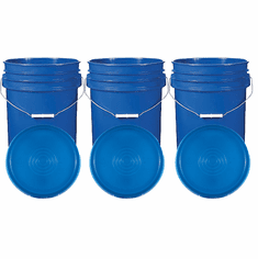 """Blue 5 Gallon Buckets and Flat Lids  Food Grade Combo 3 Pack <Font color=""""red""""> Special Combo Free Shipping</font>"""