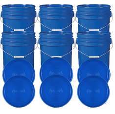 """Blue 5 Gallon Buckets and Flat Lids  Food Grade Combo 6 Pack <Font color=""""red""""> Special Combo Free Shipping</font>"""