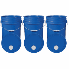"""Blue 5 Gallon Buckets and Spout Lids  Food Grade Combo 3 Pack <Font color=""""red""""> Special Combo Free Shipping</font>"""