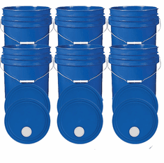 """Blue 5 Gallon Buckets and Spout Lids  Food Grade Combo 6 Pack <Font color=""""red""""> Special Combo Free Shipping</font>"""