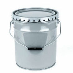 Clear Phenolic Lined 5 Gallon Open-Head Steel Pails & Covers Gray
