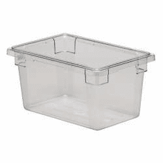 "Clear  Polycarb 18"" x 12"" x 9""  5 gal. Rubbermaid Food Boxes,"