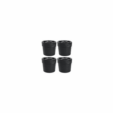 Combo, 2 Gallon, Black Faux Leather Bucket and Black Gamma Lid - 4 PACK