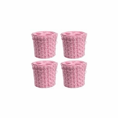 Combo, 2 Gallon, Pink Faux Fur Bucket and Pink Gamma Lid - 4 PACK
