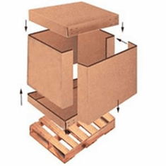 "Double wall corrugated Cardboard (4 piece) Cargo Boxe 58"" X 41"" X 45"", with Bottom Crate 10 Count"