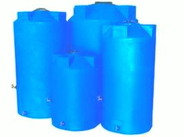 Emergency Water Storage Tanks By Poly-Mart  | 5 Year Manufacturer Warranty-Light Blue With Manway, 3 Outlet Bulkheads and Brass hardware
