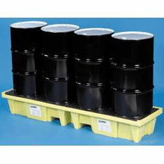Enpac In-Line Spill Pallets Floor Space 4 Drum, 66 Gallon Sump,With Drain