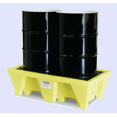 Enpac In-Line Spill Pallets Save Floor Space 2-Drum With Drain