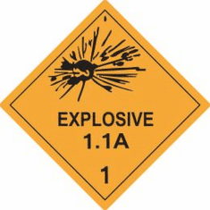Explosive 1.1A, Class 1, D.O.T Label, As Low As .6&cent Each